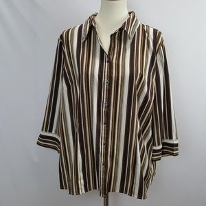 Apt. 9 Womens 1X White and Brown Button up Blouse